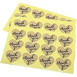 "Pack of 120 Decorative Adhesive ""Thank You"" Label 34x38mm Personalized Stickers Packaging Seals Crafts Wedding Favor Tag Toppers Decorative Sticker (Thank You Heart Shaped Black 120pcs)"