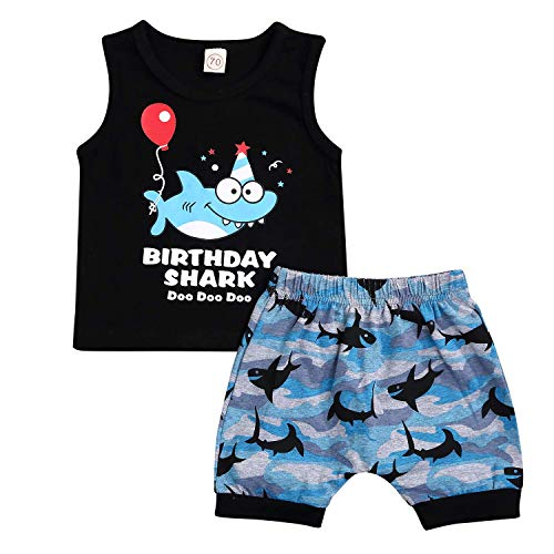 Infant Baby Boys Birthday Outfits Letter Sleeveless Vest Tops +Shark Shorts Summer Clothes Set (Black, 18-24 Years)]()