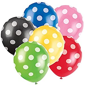 "12"" Latex Lime Green Polka Dot Balloons 6ct at 'Sock Monkeys'"
