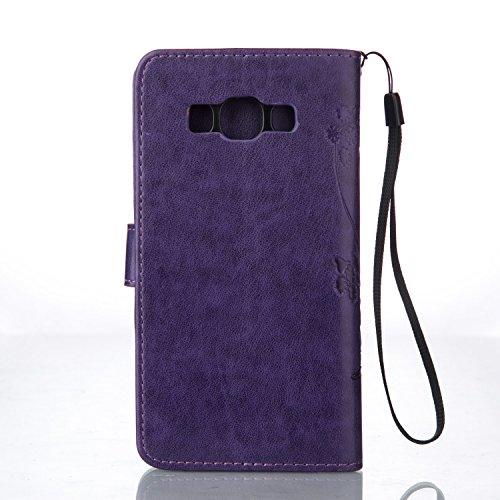 Funda Piel con Tapa para Samsung Galaxy J5 (2016) J510,Flip Fina Case de Cuero Samsung Galaxy J5 (2016) J510, TOCASO Billetera para Personalizada Repujado Flor Mariposa Pattern Completa Wallet Ultra S Purpura