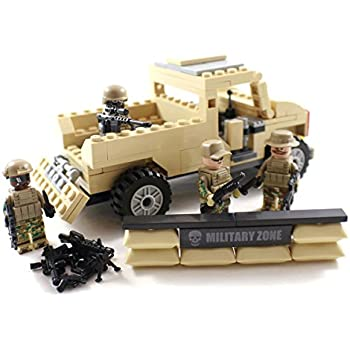 Desert Army Pickup Truck and US Marines - Military Building Block Toy