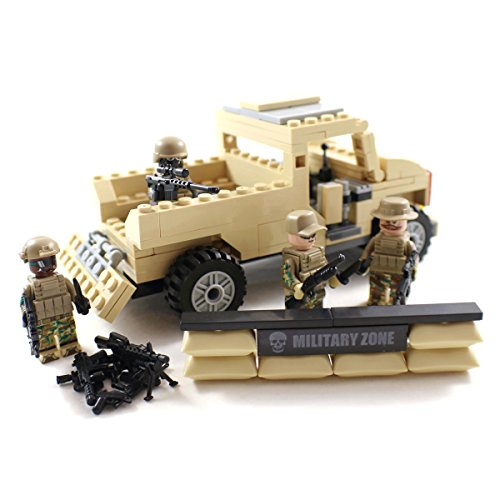 Us Army Military Vehicles - Desert Army Pickup Truck and US Marines - Military Building Block Toy