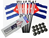 Pack of 12 4''x6'' Cuba Polyester Miniature Desk & Little Table Flags, 1 Dozen 4x6 Small Mini Hand Waving Stick Flags with 12 Flag Bases (Flags with Stands)