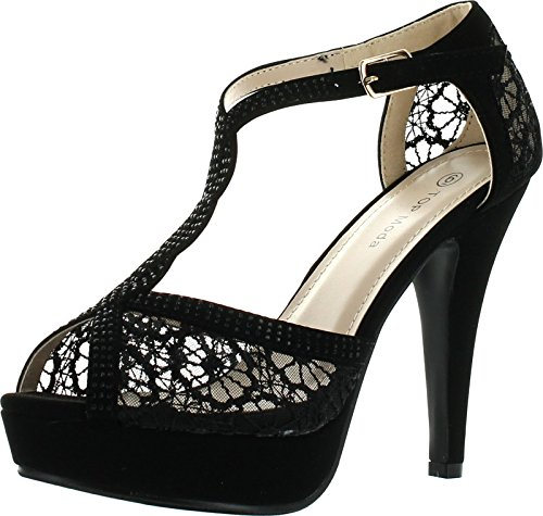 Jjf Shoes Hy-5 Open Toe Crochet High Heel Sandals Black Lace, Size 8.5 (Sexy Pink Lace Stiletto Heel)