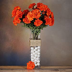 BalsaCircle 4 California Zinnia Flowers - 4 Bushes - Artificial Wedding Party Centerpieces Arrangements Bouquets Supplies 91