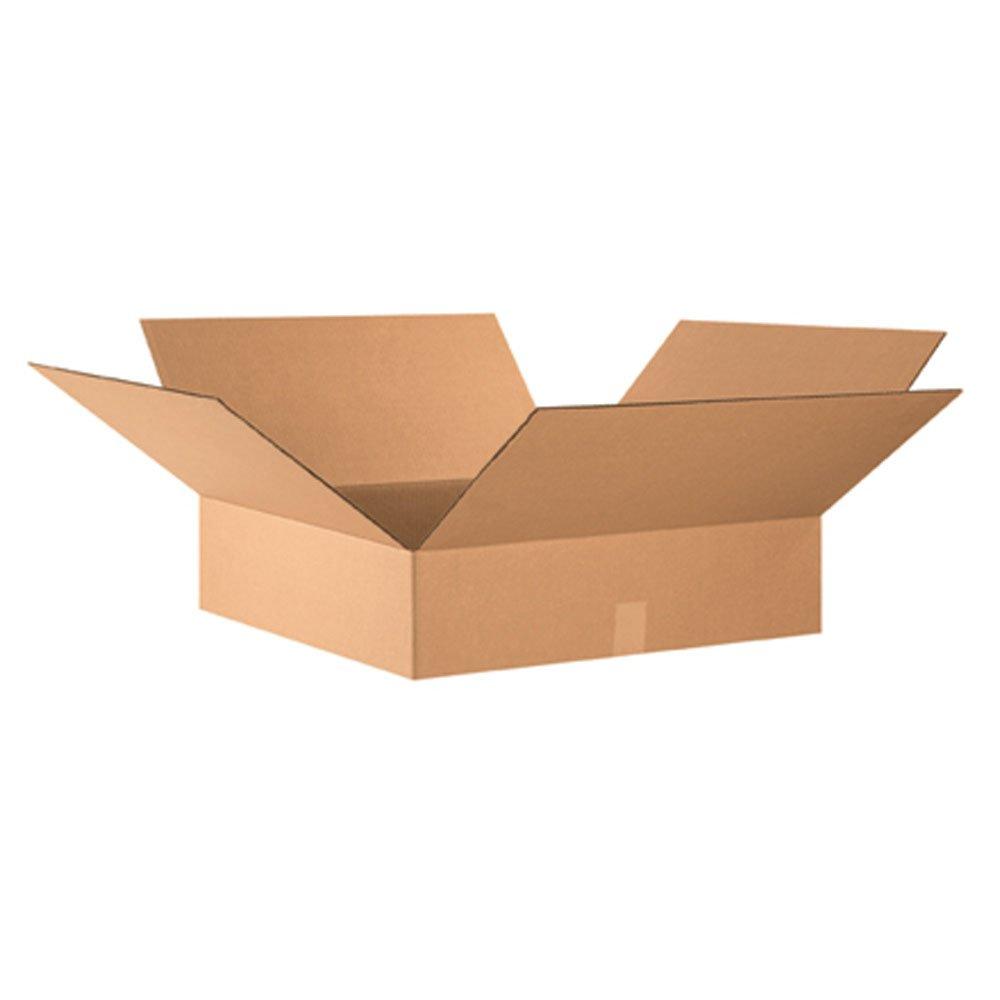 "Aviditi 24246 Flat Corrugated Box, 24"" Length x 24"" Width x 6"" Height, Kraft (Bundle of 10)"