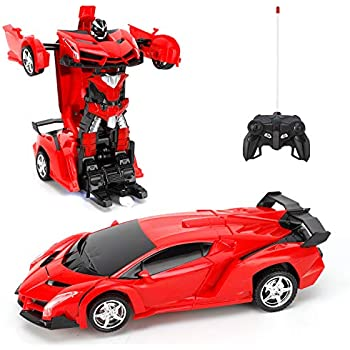 FIGROL Transform Car Robot, Robot Deformation Car Model Toy for Children, Transforming Robot Remote Control Car with One Button Transformation & 360 Speed Drifting 1:18 Scale