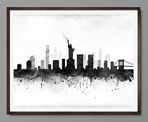 New york Cityscape – Skyline Watercolor Art Print Poster – Black and White