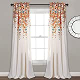 "Lush Decor Weeping Flowers Room Darkening Window Panel Curtain Set (Pair), 84"" x 52"", Turquoise and Tangerine"