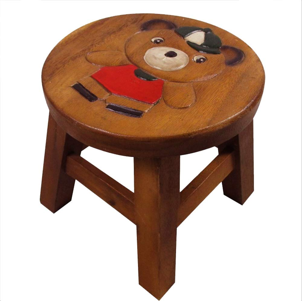 AO-stools Lion King Solid Wood Stool Small Stool Stool 26x25cm (Color : B)