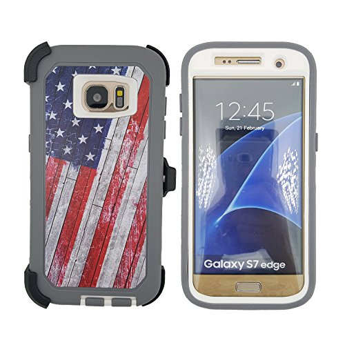 (Defender S7 Edge Case, Kecko Hunting Camo High Impact Shockproof Drop Scratch Resistant Full Body Protective Rugged Hybrid Case Shock Absorbent Bumper Cover for Galaxy S7 Edge - Retro US Flag)
