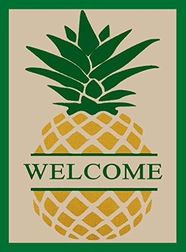 ShineSnow Vintage Welcome Pineapple Garden Flag 28 x 40, Double Sided Home Yard Decor House Flag, Seasonal Outdoor Flag Spring Summer Gift by ShineSnow