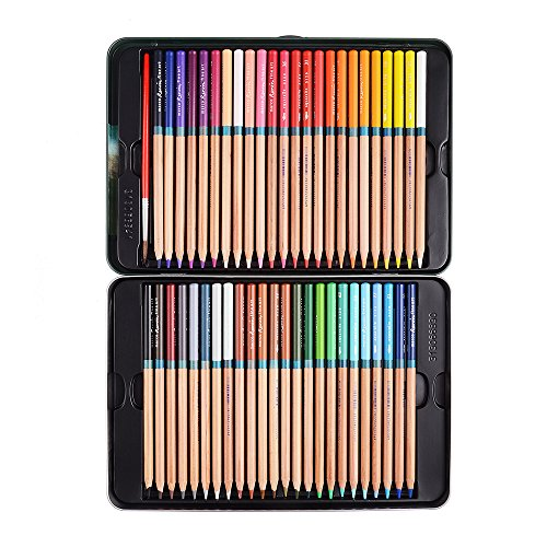 Marco Renoir Fine 48 Colors Water Soluble Drawing Pencil Set Non-toxic Pencils Tin Wooden Painting Artist Sketching Craft Graphite with Iron ()