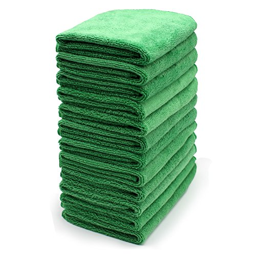 SURPRISE PIE Cleaning Cloths Thick Pack of 12 Pices (All Green) Soft Multi-Surface Towels Micro Dust Cloth Replacement House Clean Rags Kitchen Appliance for Window Bathroom Furniture Dusting Cleaner