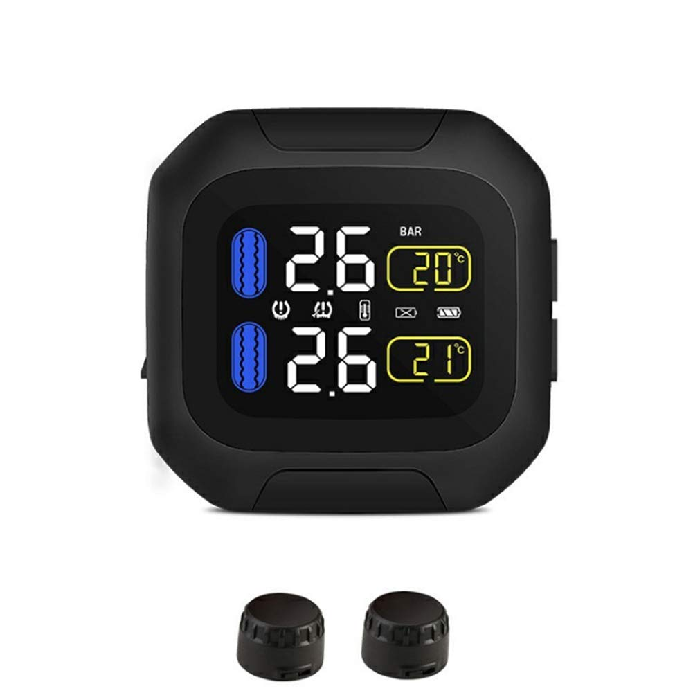 External Sensor Matedepreso TPMS Motorcycle Tire Pressure Monitoring System LCD Real-time Display Tyre Pressure Auto Tyre Alarm Wireless Waterproof with 2 Sensors For Motorcycle