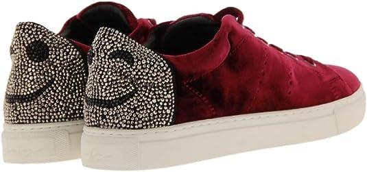 Lola Cruz Damen Smiley Sneakers UVP 229, samt Bordeaux rot