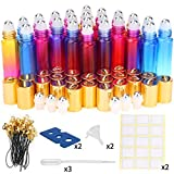 Glass Roller Bottles, ESARORA 24 Pack 10ml Gradient Color Essential Oil Roller Bottles with Stainless Steel Roller Ball and Golden hanging cap(3 Dropper,2 Funnel,6 Extra Roller Ball,30 Label,2 Opener)