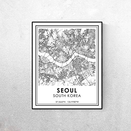 Pulling Seoul map Minimalist Poster or Seoul South Korea Roads map Modern Black and White Travel Print Streets map City map map Art
