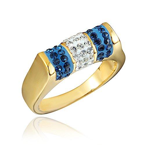 Blue White Rhinestone Crystal CZ Cocktail Band Ring 18K Gold Women Costume Wedding Size US 6 7 8 9 (Costumes Us)