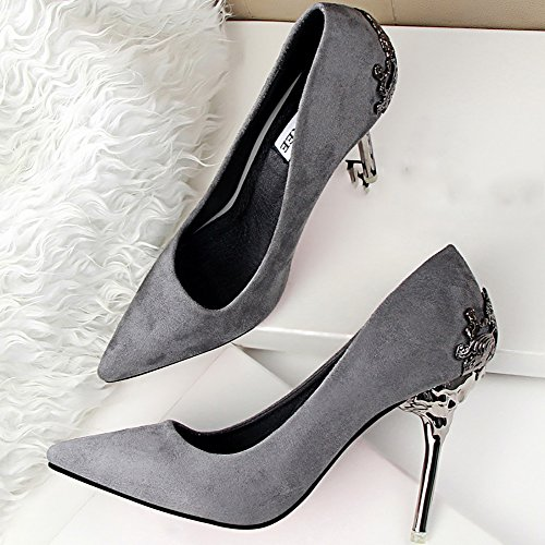 ODEMA Women's Sexy Pointed Toe High Heels Stilettos Pumps Wedding Shoes Gray v5JFKLa