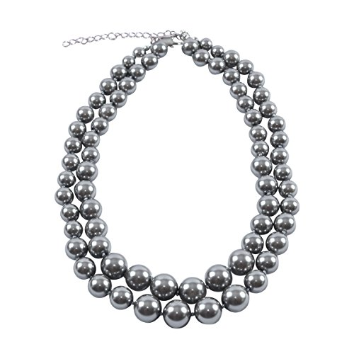 Double Strand Grey Faux Pearl (Double Graduated Strand)