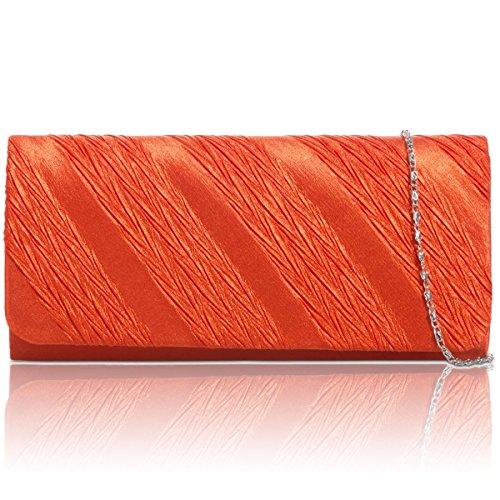 Xardi London - Pochette da donna, in raso pieghettato, per sposa, da sera, per feste, Regno Unito Orange