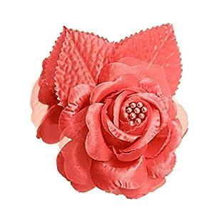 shia 12 Silk Roses Wedding Favor Flower Corsage Coral 17