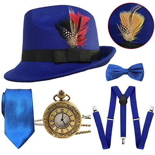 1920s Mens Gatsby Costume Accessories,Manhattan Fedora Hat w/Feather,Vintage Pocket Watch,Suspenders Y-Back Trouser Braces,Pre Tied Bow Tie,Tie (RoyalBlue) ()