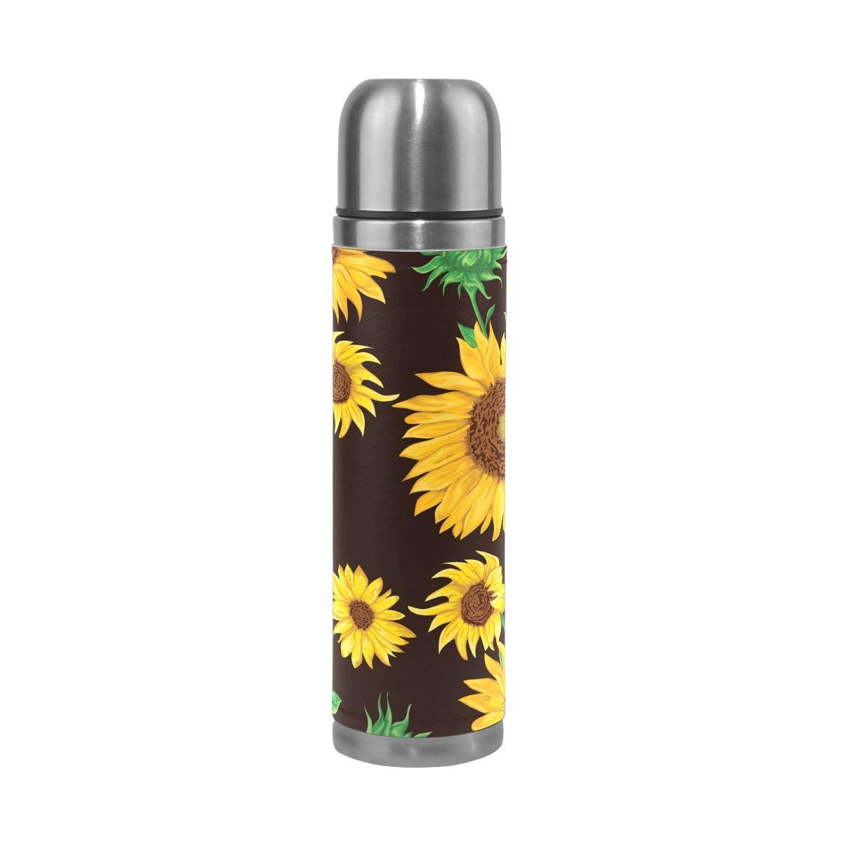 Mnsruu - Botella de Agua de Doble Pared con Aislamiento de Girasoles ...