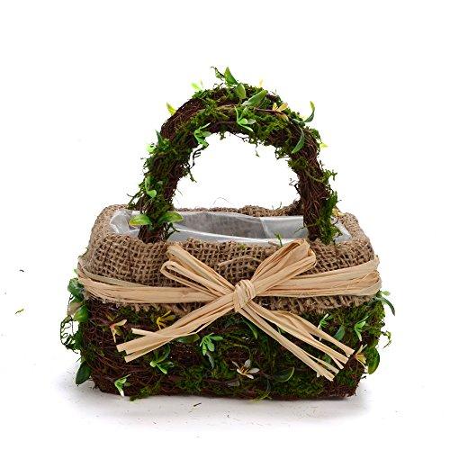 Byher 12167 Preserved Moss Flower Basket for Girl Wedding (Large)