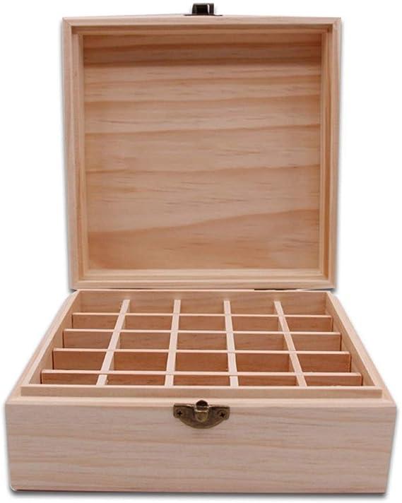 LY-YY 木製 エッセンシャルオイルの貯蔵 エッセンシャルオイルストレージスロットの5〜15ミリリットルエッセンシャルオイルボトルのエッセンシャルオイルストレージボックス25種類を保護するために超高に対応するために、あなたのオイルアロマストレージボックス(カラー:ナチュラル、サイズ:18X18X10CM) 香りが保存される