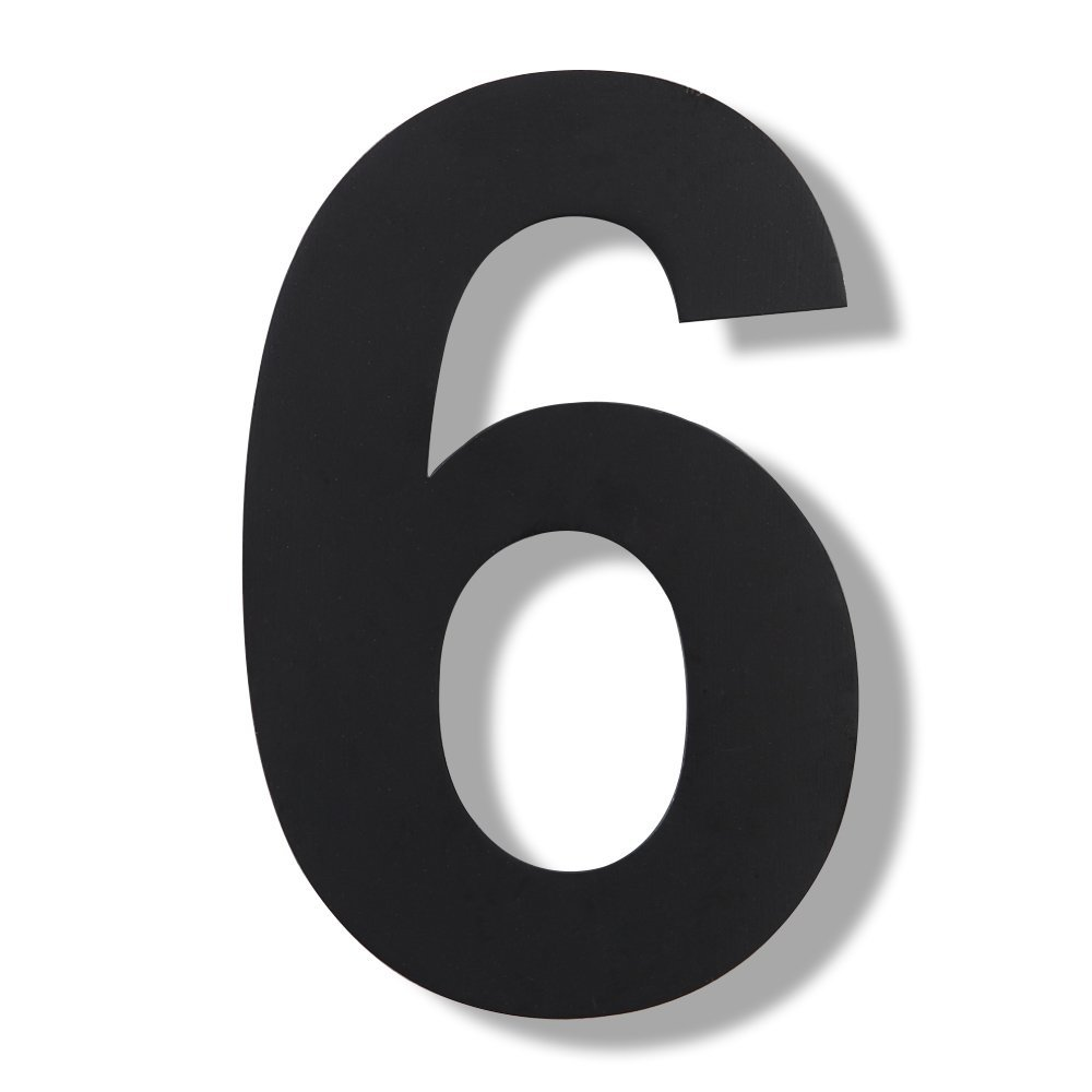 Amazon com mellewell modern floating house numbers super large 12 inch black finish stainless steel 18 8 number 6 six garden outdoor