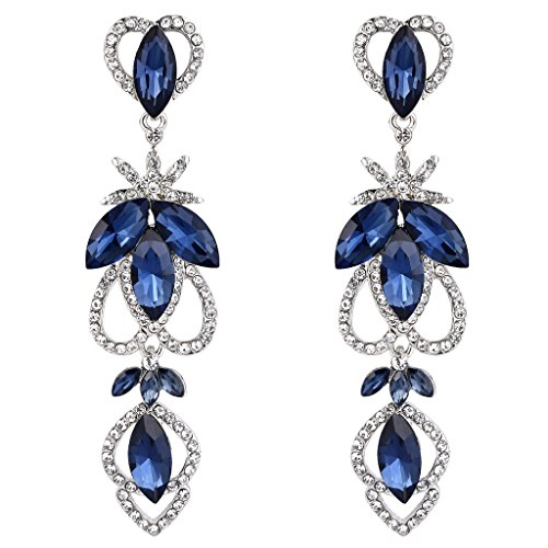 Sapphire Austrian Crystal Earrings (BriLove Women's Bohemian Boho Crystal Marquise Hollow Heart Shape Art Deco Chandelier Dangle Earrings Sapphire Color Silver-Tone)