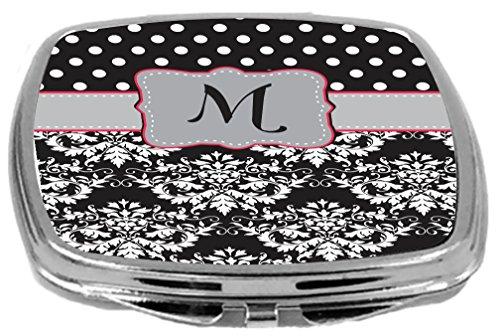 Rikki Knight Initial M Damask Dots Design Compact Mirror, Grey/Pink/Black, 17 Ounce