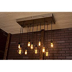 Modern chandelier, Industrial Lighting, Industrial Chandelier With Reclaimed Wood and 10 Pendants. R-1434-10