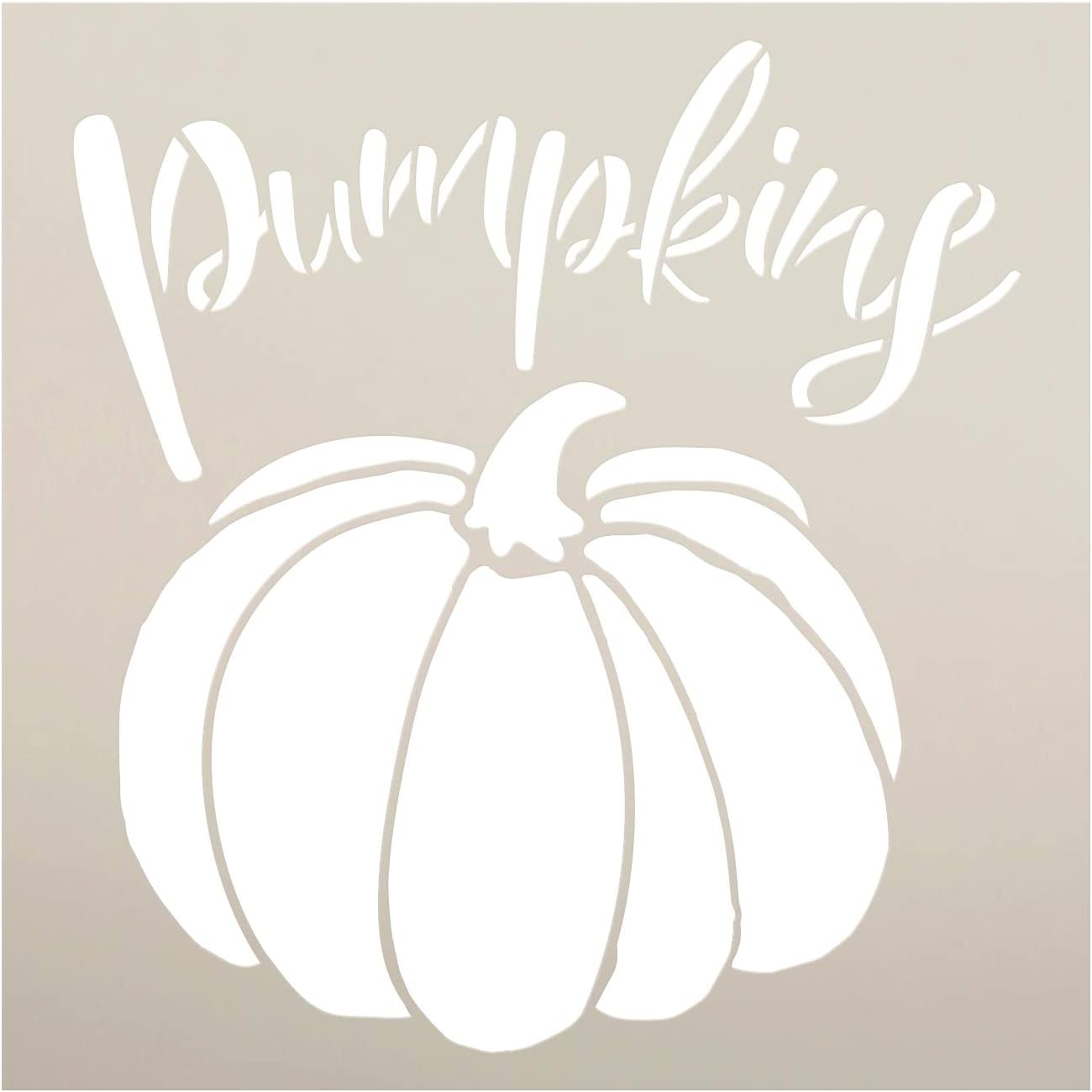 Pumpkins Garden Marker Stencil by StudioR12 | DIY Spring Backyard Outdoor Home Decor | Vegetable Plant Label | Craft & Paint Rustic Wood Signs | Reusable Mylar Template | Select Size (9 x 9 inch)