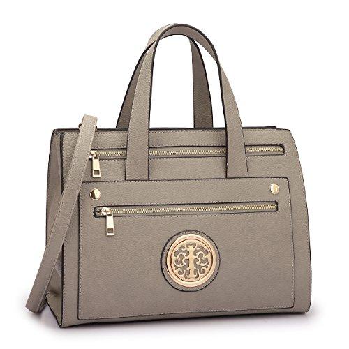 MMK collection Fashion Handbag (14-7042)~Gold-Tone Satchel Handbag for Women` Signature fashion Designer Purse~ Perfect Beautiful Designer Purse & Women Satchel Purse (14-7042-GY)