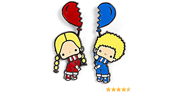 Sanrio Collector Patty and Jimmy Best Friend 2 Pin Set Heart Balloon Hello Kitty