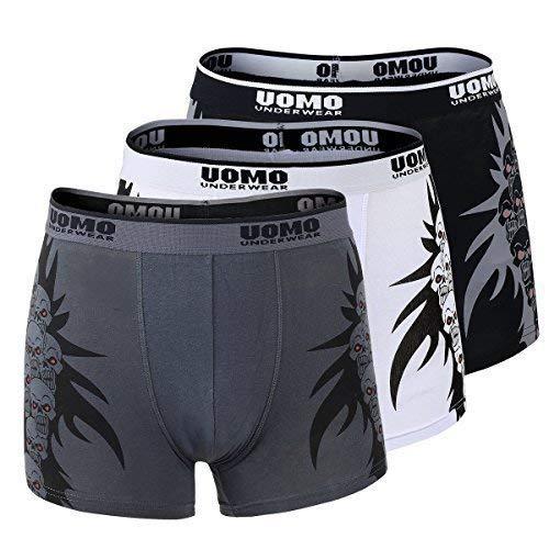 Unbekannt 3er Pack Hombres Calzoncillos Bóxer Pantalones Ropa Interior Bragas Slip Boxer Calavera Retro Cl 0821