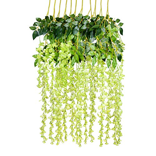 - 12 Pack 1 Piece 3.6 Feet Artificial Fake Wisteria Vine Ratta Hanging Garland Silk Flowers String Home Party Wedding Decor (Green)