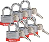 "Brady 118935 Red, Key Retaining Steel PadLock - 3/4"" Shackle - Keyed Different (6 Locks)"