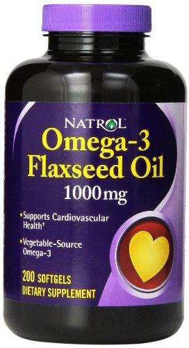 Natrol Omega-3 1000mg Flax Seed Oil gélules, 200-comte