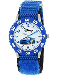 Kids' W000369 Cars Stainless Steel Time Teacher Blue Bezel Blue Nylon Strap Watch