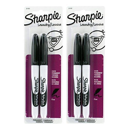 Sharpie Rub-A-Dub Fine Point Laundry Marker-Black- 4 ct