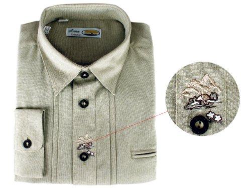 Anna Collection Herren Trachtenhemd - Gruen, Groesse: L