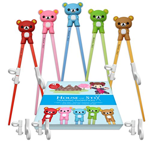 Chopstick Kids (Training chopsticks for kids adults and beginners - 5 Pairs chopstick set with attachable learning chopstick helper - right or left handed)