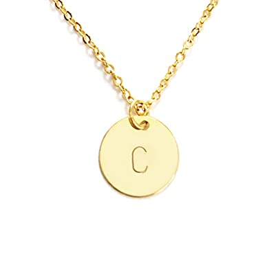 Amazon personalized round disc initial pendant necklace up to personalized round disc initial pendant necklace up to 3 letters cn gold aloadofball Images