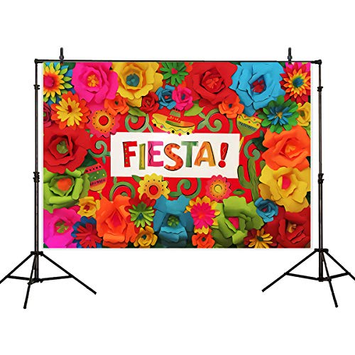 Riyidecor Mexican Fiesta Backdrop Mexico Cinco De Mayo Photography Background 5x3ft Colorful Floral Paper Flowers Banner Decorations Birthday Festival Luau Event Props Photo Shoot Blush Vinyl Cloth