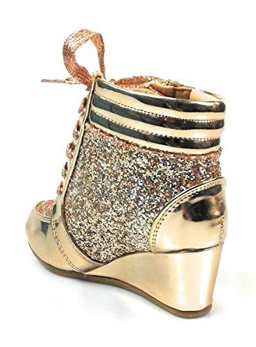 Koppeling Vetersluiting Glitter Glitter Mode Sneaker Verborgen Hak Voor Kinderen / Meisje / Kinderen Peggy44k Roségoud