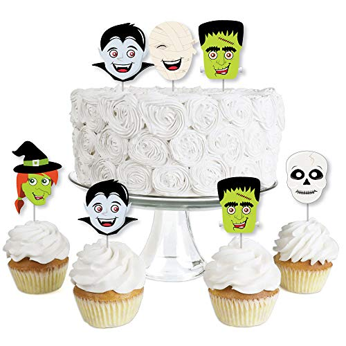 Halloween Monsters - Dessert Cupcake Toppers - Skeleton, Mummy, Vampire, Frankenstein & Witch Halloween Party Clear Treat Picks - Set of 24 -